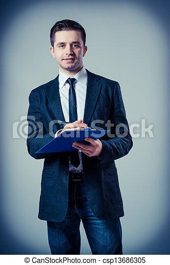 klembord, zakenmens  - csp13686305