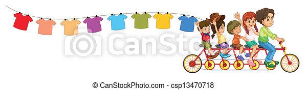kleren, fiets, geitjes, hangend - csp13470718