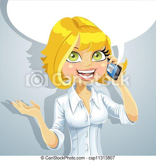 klesten, meisje, blonde , telefoon, schattig - csp11313807