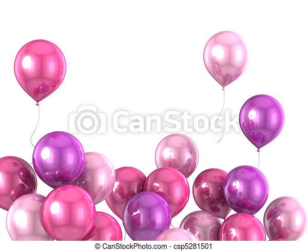 kleur, balloon, helium, 3d - csp5281501