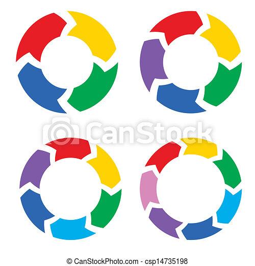 kleur, cirkel, set, pijl, vector - csp14735198