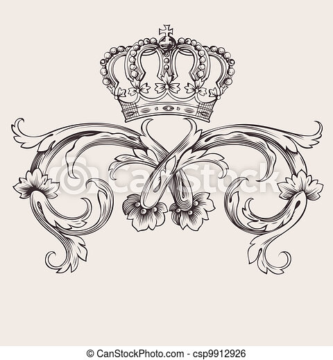 kleur, koninklijke kroon, bochten, een, ouderwetse , spandoek - csp9912926
