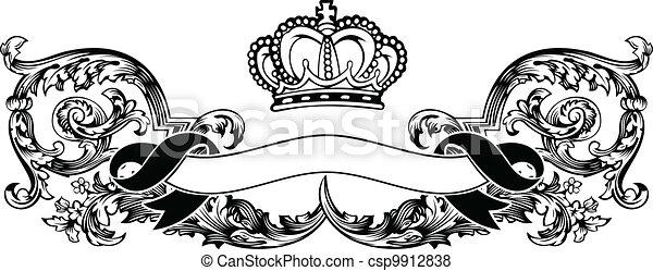 kleur, koninklijke kroon, bochten, een, ouderwetse , spandoek - csp9912838