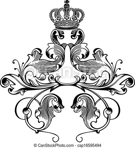 kleur, koninklijke kroon, bochten, een, elegant, retro - csp16595494