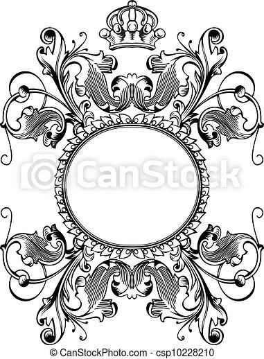 kleur, koninklijke kroon, bochten, een, ouderwetse , spandoek - csp10228210