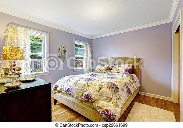 Kleur, licht, lavendel, slaapkamer. Ivoor, kleur, licht ...