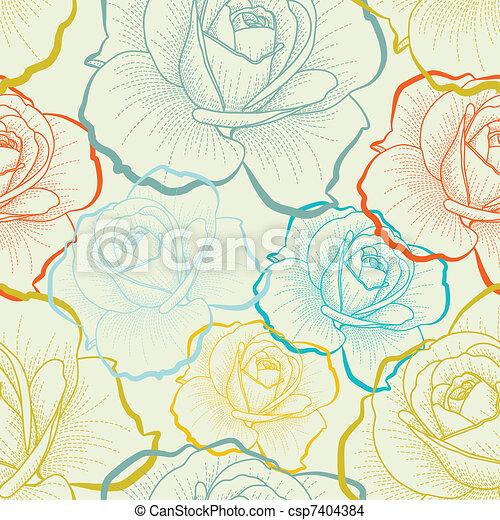 kleur, model, seamless, hand, rozen, tekening - csp7404384