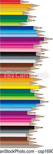kleur, potloden, beeld, vector, - - csp1690797