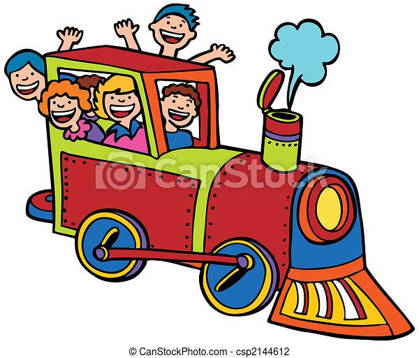 kleur, rijden, trein, spotprent - csp2144612