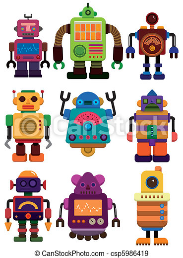 kleur, robot, spotprent, pictogram - csp5986419