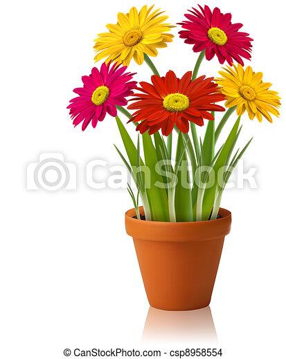 kleur, verse bloemen, vector, lente - csp8958554