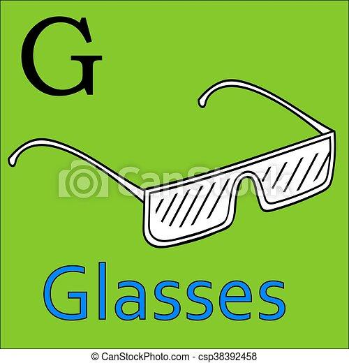 kleuren, alphabet., g, vector, letter., boek, bril - csp38392458