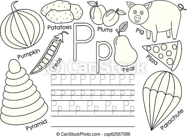 kleuren, alphabet., praktijk, book., schrijvende brief, engelse , children., pictures., opleiding, p. - csp62567086