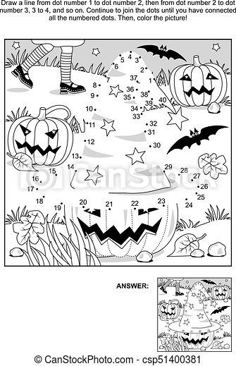 Raadsels Halloween.Kleuren Halloween Dot To Dot Heks Hoed Pagina