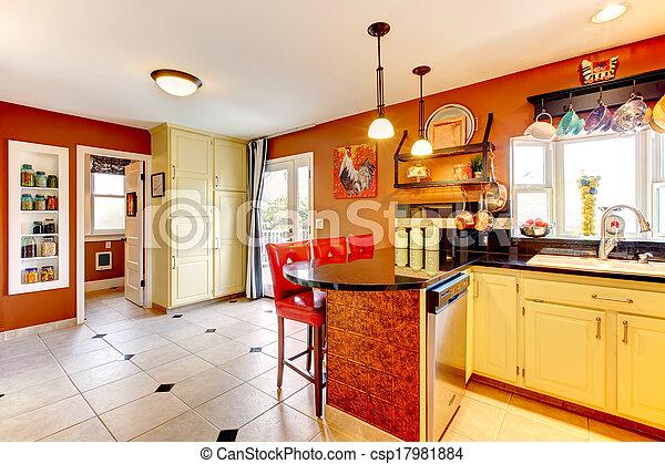 Kleuren warme kamer keuken cozy. kabinetten kamer vloer