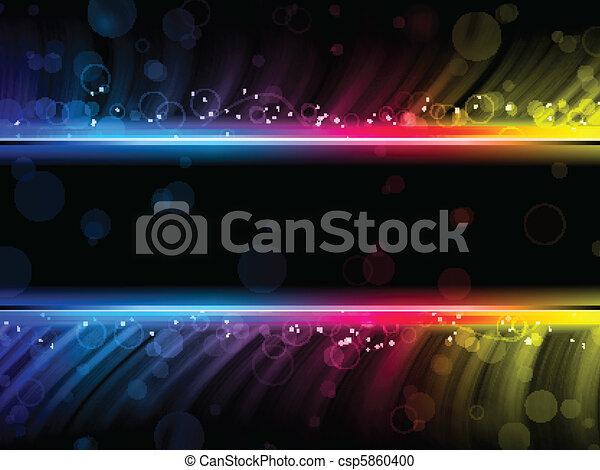 kleurrijke, abstract, disco, zwarte achtergrond, golven - csp5860400