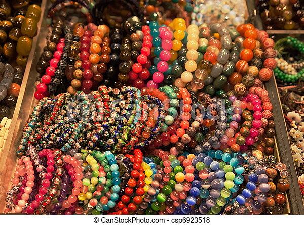kleurrijke, armbanden, markt, stander - csp6923518