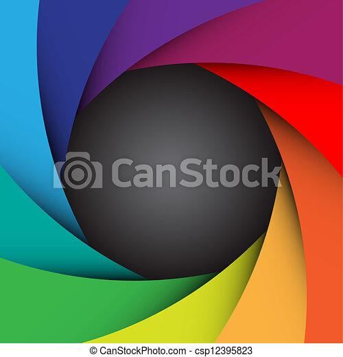 kleurrijke, fototoestel, illustratie, eps10, sluiter, achtergrond - csp12395823