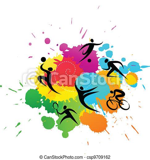 kleurrijke, -, illustratie, vector, achtergrond, sportende - csp9709162