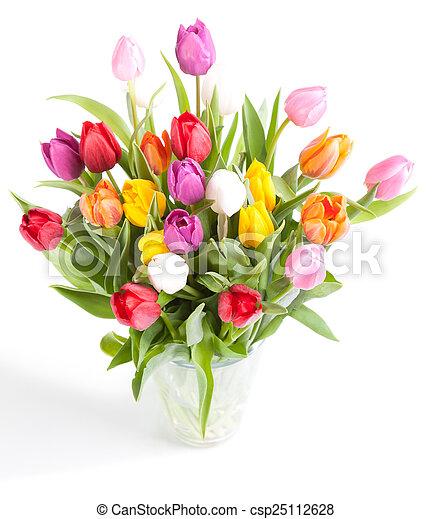 kleurrijke tulpen vaas glas achtergrond witte. Black Bedroom Furniture Sets. Home Design Ideas