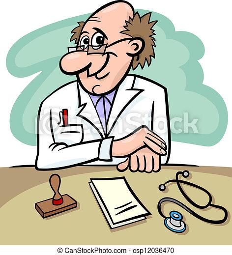 kliniek, spotprent, illustratie, arts - csp12036470