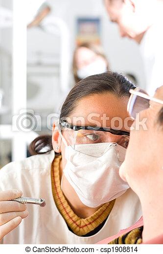 klinik, tandläkare, ung - csp1908814