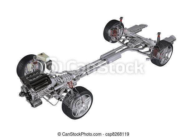 klippning, d, teknisk, samtidig, framförande, generisk, 3, bakgrund, bil., perspektiv, under, sedan, vit, path., vagn, synhåll - csp8268119