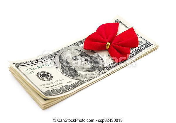 klippning, gåva, dollars, bog, bana, stack, röd - csp32430813