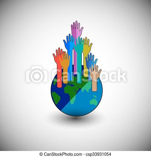 klode, colourful, rejsning, hænder - csp33931054