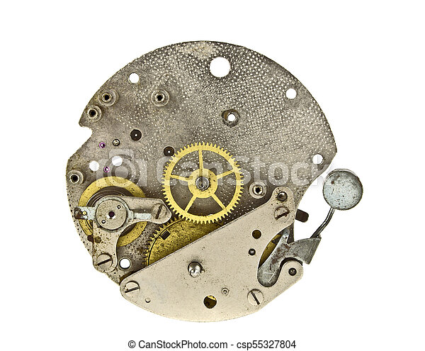 klok, op, mechanisme, vrijstaand, achtergrond, toestellen, afsluiten, witte  - csp55327804