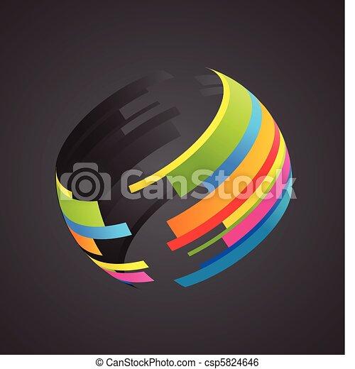 klot, färgad, ikon - csp5824646