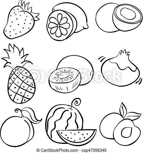 Klotter rita frukt hand rita klotter frukt hand - Dessiner un fruit ...