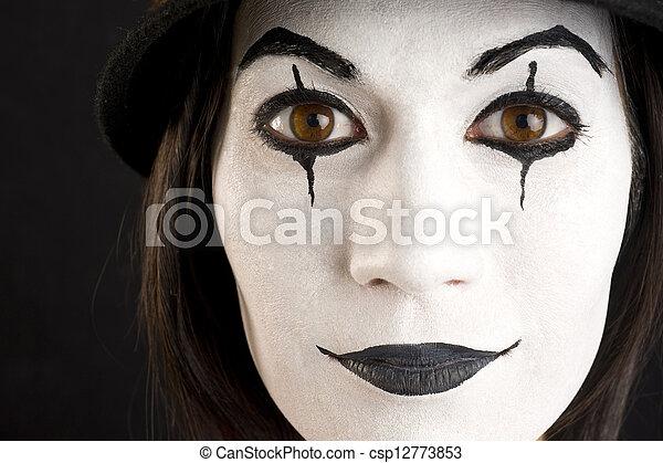 klown, twarz, mim, samica, biały, interpretacja, albo - csp12773853