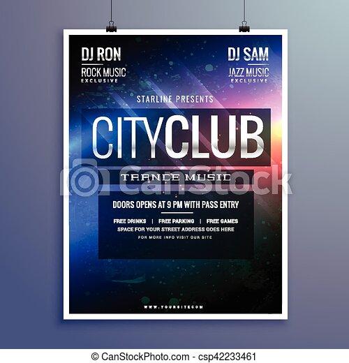 Klub, erstaunlich, flieger, musik, schablone, einladung, party.