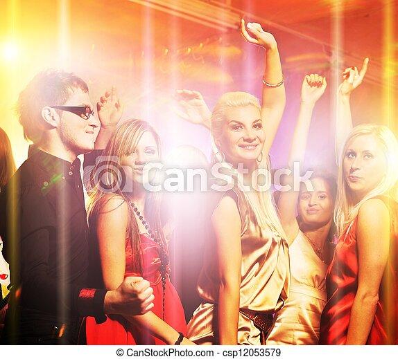 klub, noc, ludzie, taniec - csp12053579