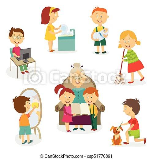 New Klusjes, thuis, geitjes, kinderen, activiteiten. Set, plat  #DQ59