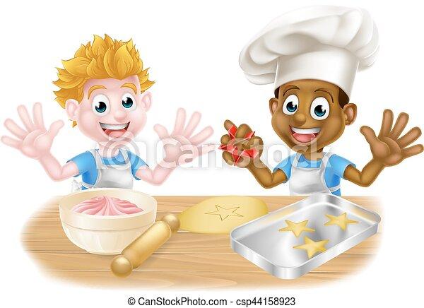 Knaben Kuchen Backen Karikatur Kuchen Backen Angezogene