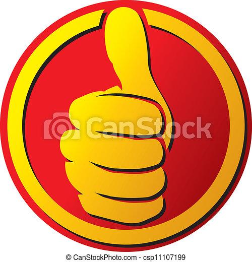 knap, hånd, viser, oppe, tommelfingre - csp11107199