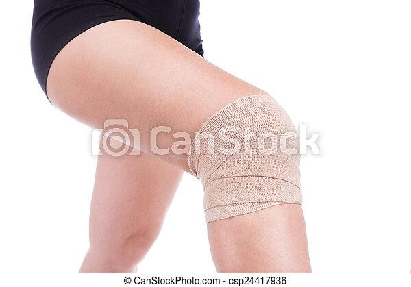Knee Injury Bandaged An Elastic Bandage