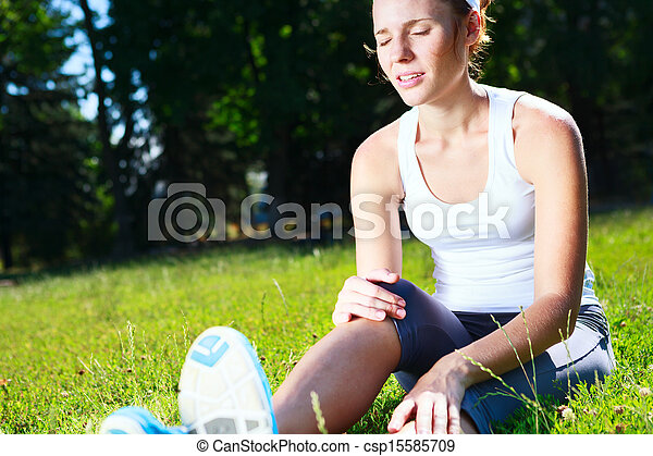 Knee injury for young athlete runner.  - csp15585709