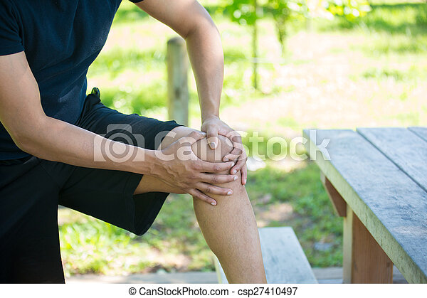 Knee joint pain outside - csp27410497