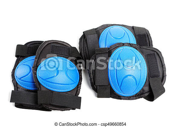 Knee pads and elbow pads isolated on white background - csp49660854
