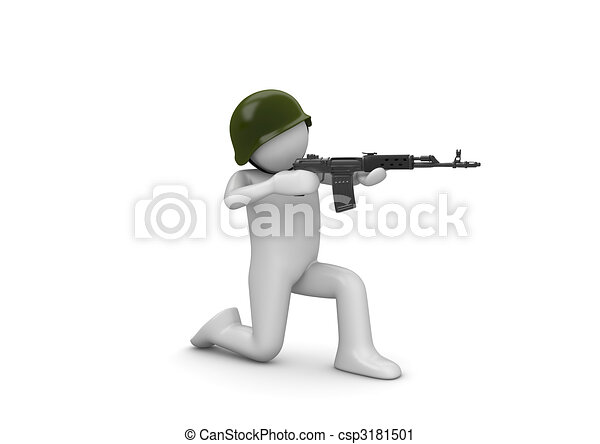 Kneeling Soldier Aiming - csp3181501