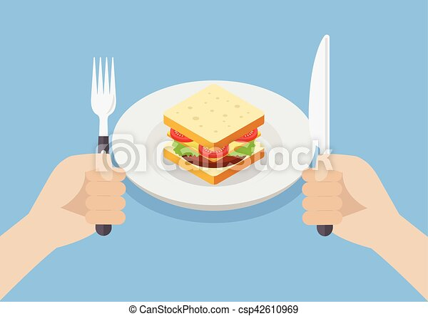 Knife and fork cutlery in hands with sandwich - csp42610969