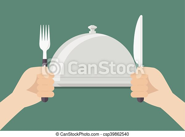 Knife And Fork Cutlery In Hands With Serving Tray Vector Illustration
