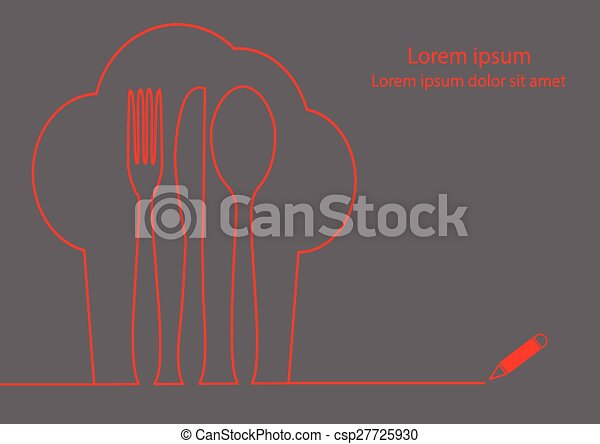 Line Drawing Vector Graphics : Knife fork spoon line drawing. and chef hat