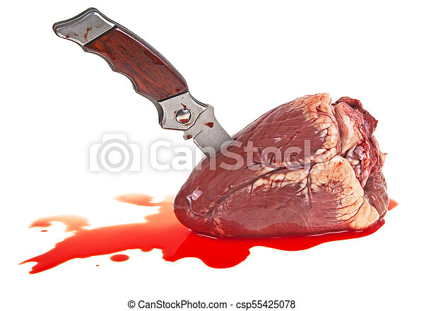 Knife in the heart on a white background - csp55425078