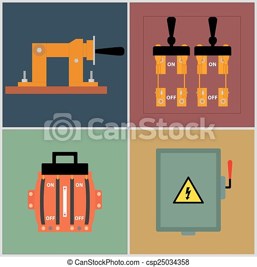 Knife Switch Flat Icons Electrical Circuit Breaker
