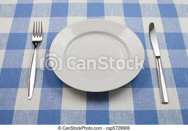 Knife, White Plate And Fork On Blue Checked Tablecloth   Csp5729906