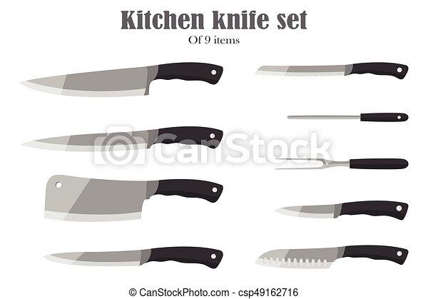 Knifes set or Kitchen knives. Cutlery Set. Vector illustration. - csp49162716